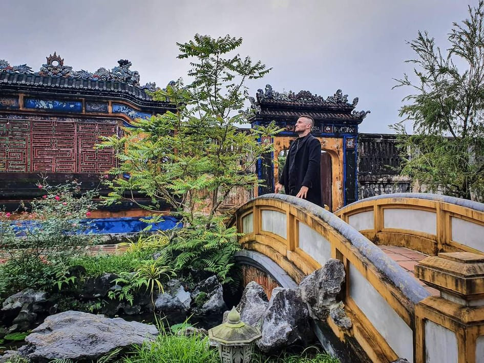 Danny Flood is seen in a photo taken during his trip to teh central city of Hue. Photo: Supplied