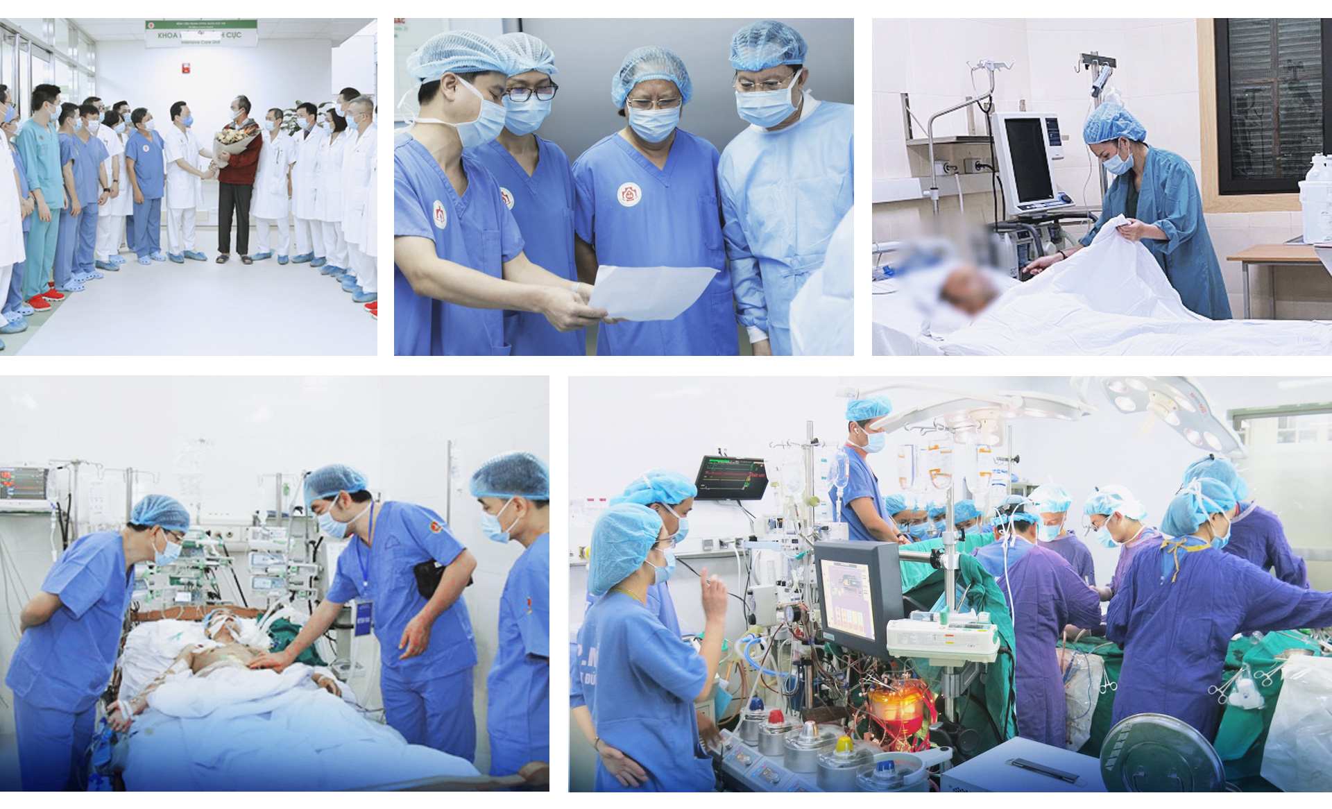 A photo collage of surgeons undertaking the Truc Nhi - Dieu Nhi seperation surgery in Ho Chi Minh City.