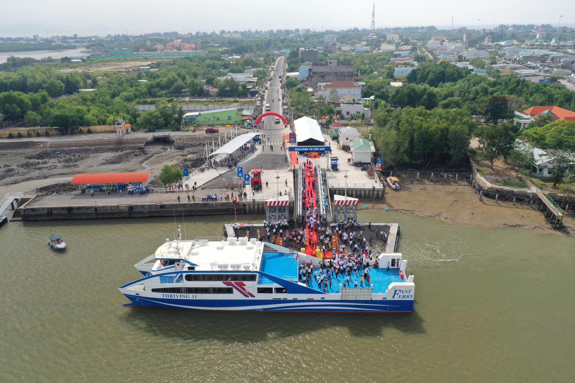 <em>The inauguration ceremony of the Can Gio-Vung Tau ferry is organized on January 4, 2021. Photo: </em>Quang Dinh / Tuoi Tre