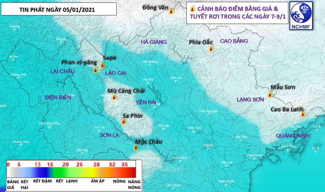 A map detailing the localities in northern Vietnam where sleet and frost may occur from January 7 to 9. Photo: National Center for Hydro-meteorological Forecasting