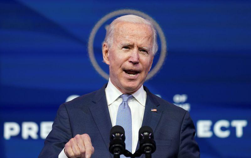 U.S. President-elect Joe Biden speaks about the protests taking place in and around the U.S. Capitol in Washington as the U.S. Congress held a joint session to certify the 2020 election results, at a news conference at his transition headquarters in Wilmington, Delaware, U.S., January 6, 2021. Photo: Reuters