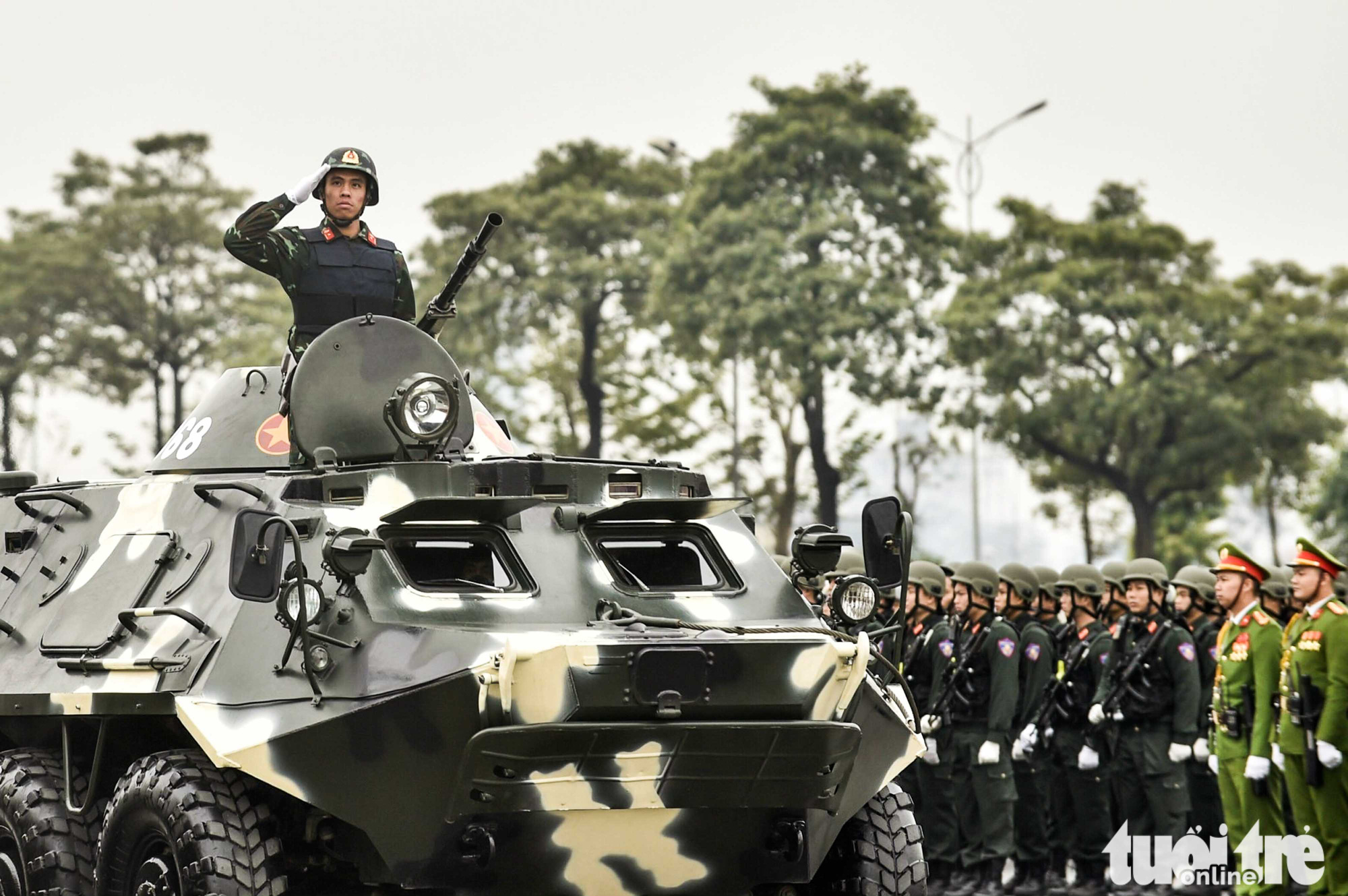 An armored vehicle is pictured during the parade in Hanoi, January 10, 2021. Photo: Quang Minh / Tuoi Tre