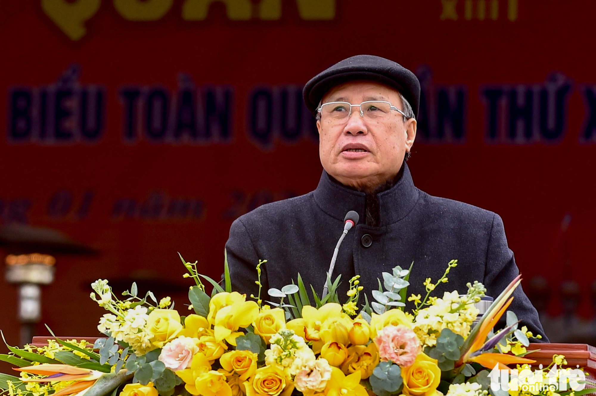 Tran Quoc Vuong, Politburo member and head of the congress's organizing sub-committee, speaks at the ceremony in Hanoi, January 10, 2021. Photo: Quang Minh / Tuoi Tre