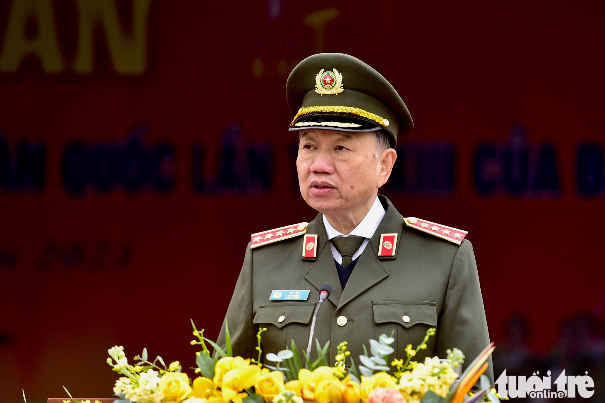General To Lam, Minister of Public Security, speaks at the ceremony in Hanoi, January 10, 2021. Photo: Quang Minh / Tuoi Tre