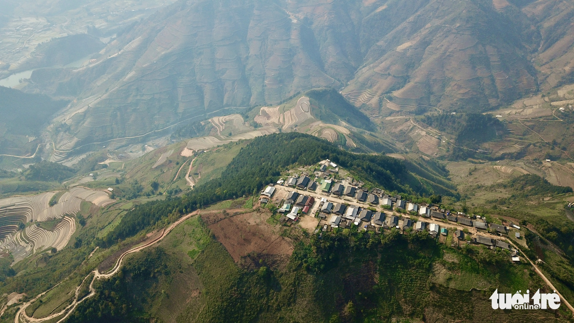 A bird's eye view of Cu Vai Village in the northern province of Yen Bai. Photo: Ngoc Quang / Tuoi Tre