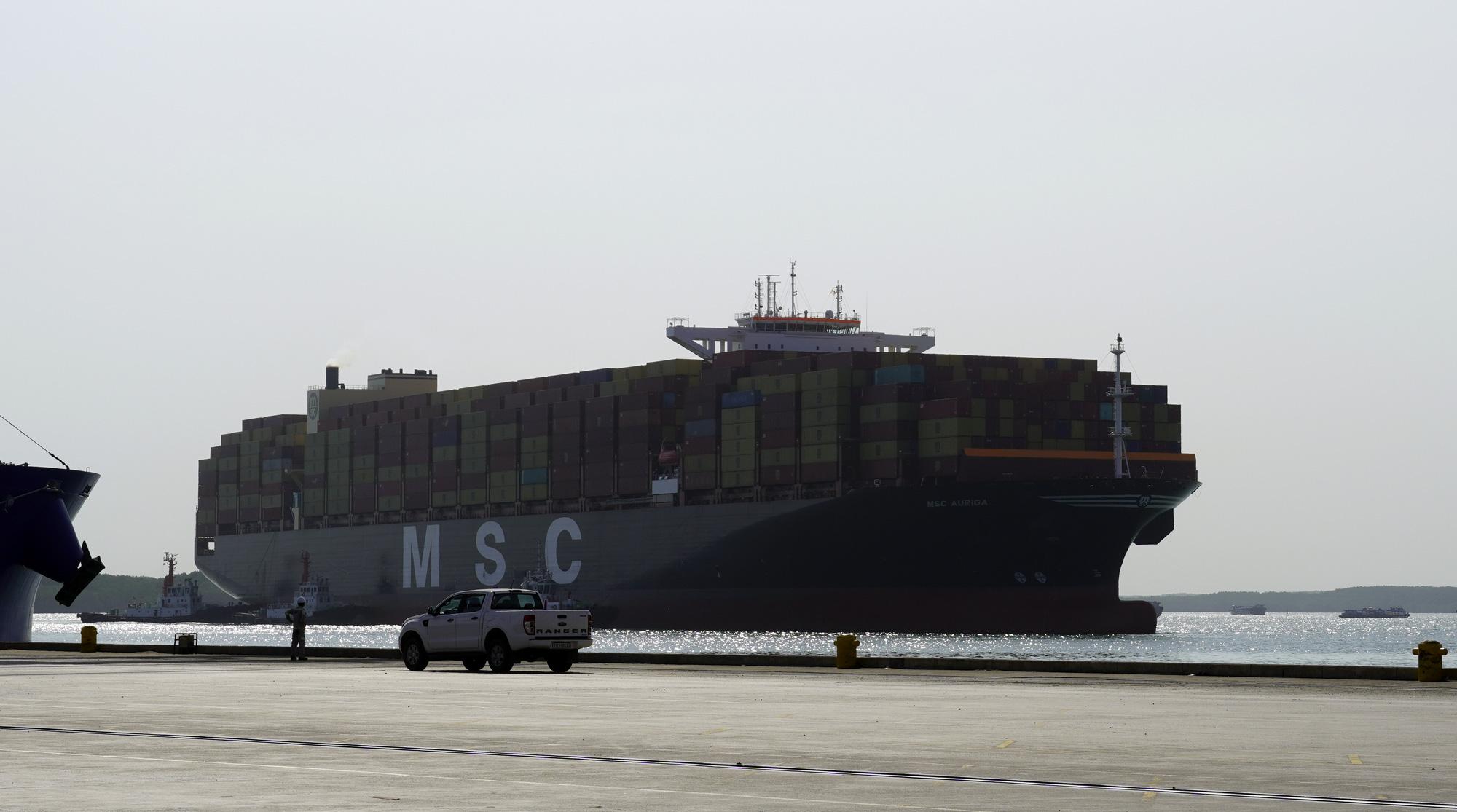 Portugal-flagged cargo vessel MSC Auriga arrives at SP-SSA International Terminal (SSIT) in Ba Ria - Vung Tau Province, Vietnam, March 22, 2021. Photo: Dong Ha / Tuoi Tre