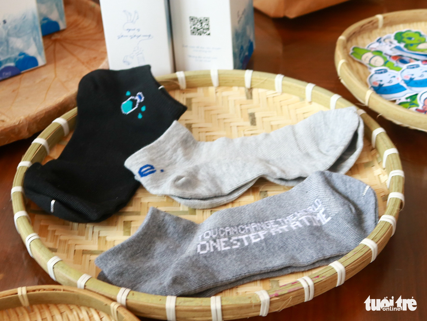 Socks made from recycled plastic bottles are presented at the event organized by Re.socks in Phu Nhuan District, Ho Chi Minh City, March 27, 2021. Photo: Huu Huong / Tuoi Tre