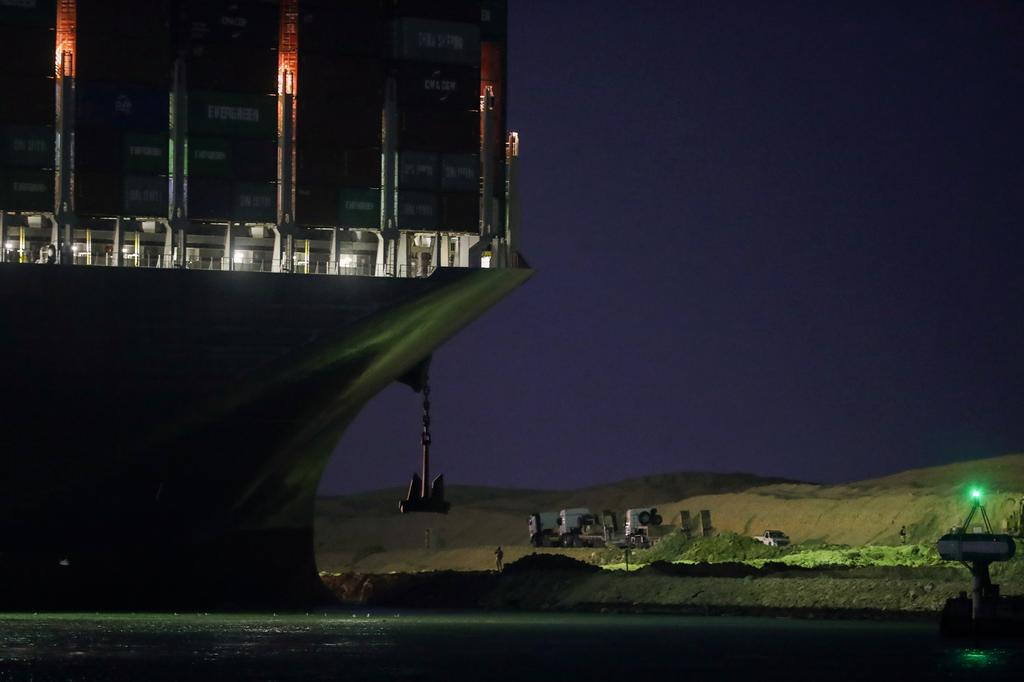 A view shows the stranded container ship Ever Given, one of the world's largest container ships, after it ran aground, in Suez Canal, Egypt March 27, 2021. Photo: Reuters