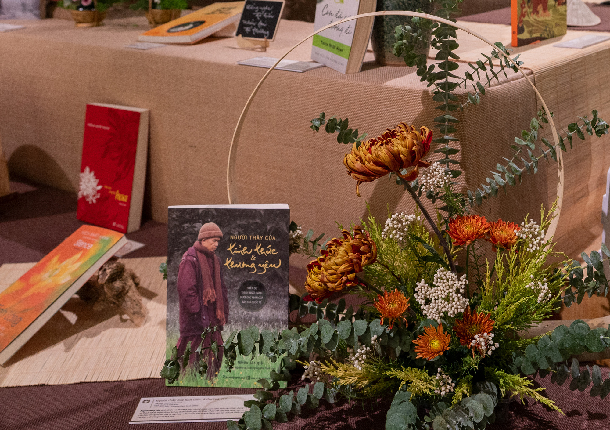 Books by Zen Buddhist monk Thich Nhat Hanh are on display in Ho Chi Minh City, Vietnam, March 27, 2021. Photo: Huu Hanh / Tuoi Tre