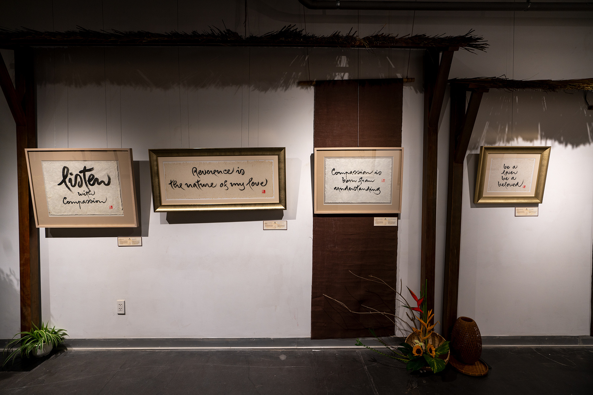 Calligraphy by Vietnamese Zen Buddhist monk Thich Nhat Hanh is on display in Ho Chi Minh City, Vietnam, March 27, 2021. Photo: Huu Hanh / Tuoi Tre