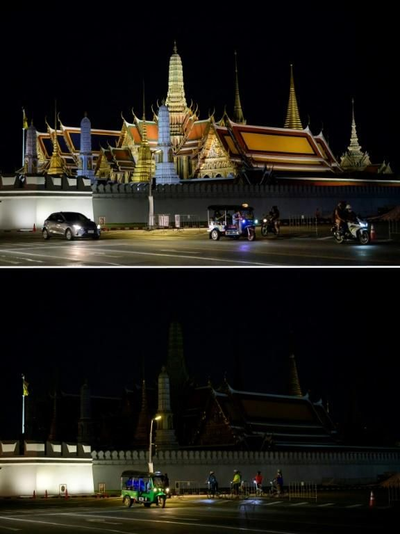 The Earth Hour event started with cities in Asia, including Bangkok, where the Grand Palace went dark. Photo: AFP