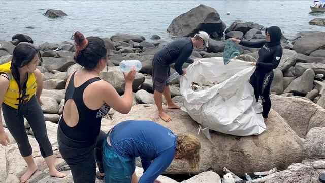 People clear trash by the sea at Tioman Island, Pahang, Malaysia, September 13, 2020, in this still image from video obtained via social media. Photo: The Monkey Project via Reuters