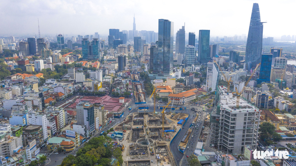 A bird's-eye view of Ben Thanh Metro Station construction site in District 1 of Ho Chi Minh City. Photo: Quang Dinh / Tuoi Tre