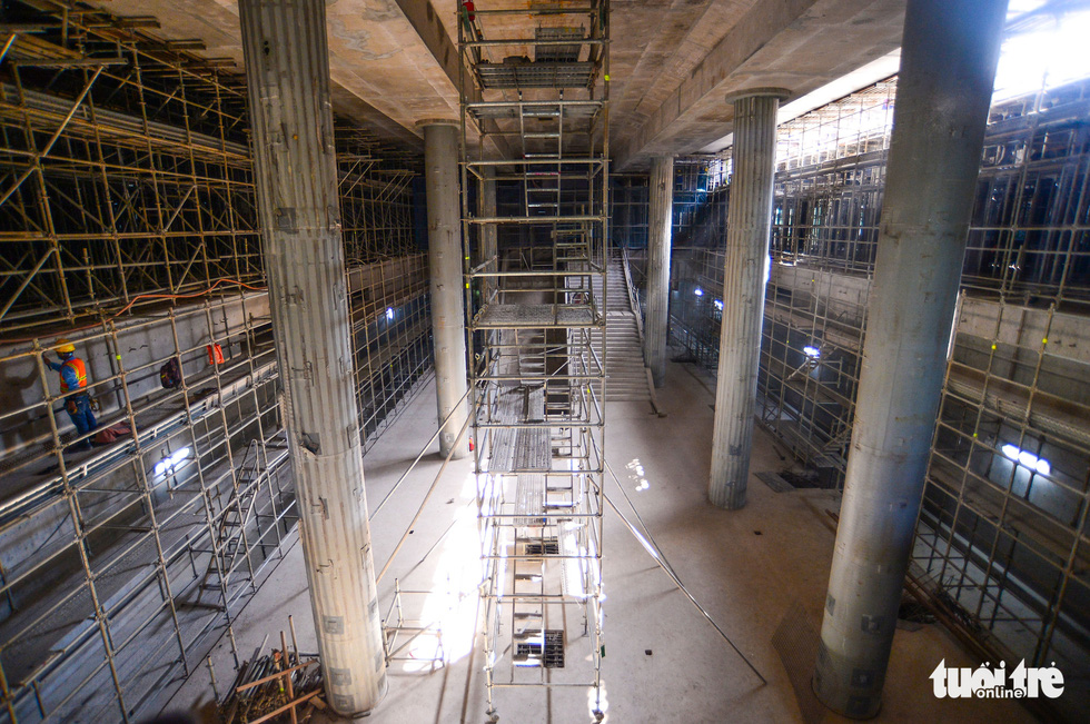 The B2 floor of Ben Thanh Metro Station in District 1 of Ho Chi Minh City is under construction. Photo: Quang Dinh / Tuoi Tre