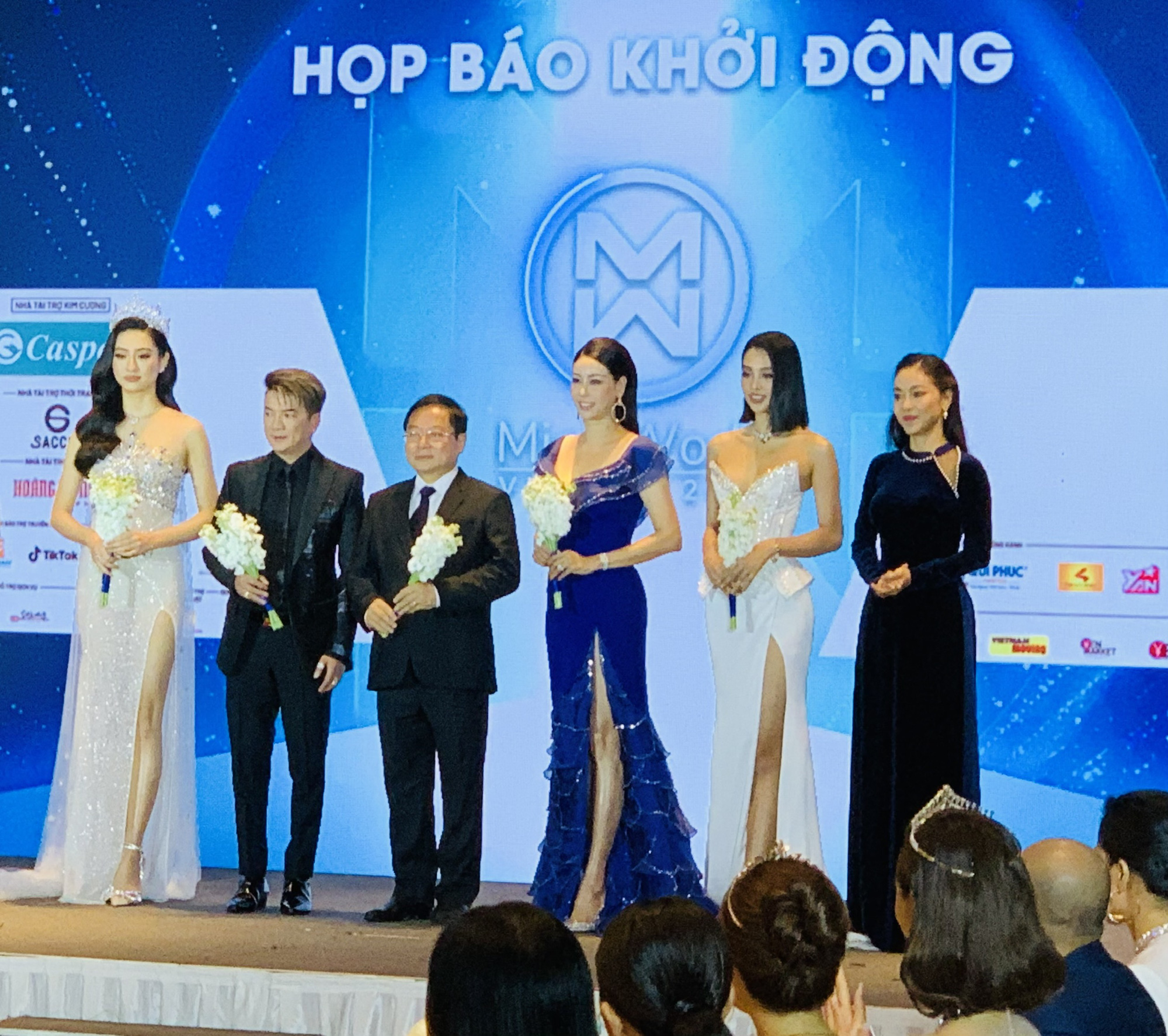 Judges of Miss World Vietnam 2021 are introduced at the beauty contest's press conference in Ho Chi Minh City, March 31, 2021. Photo: Phuong Nam / Tuoi Tre
