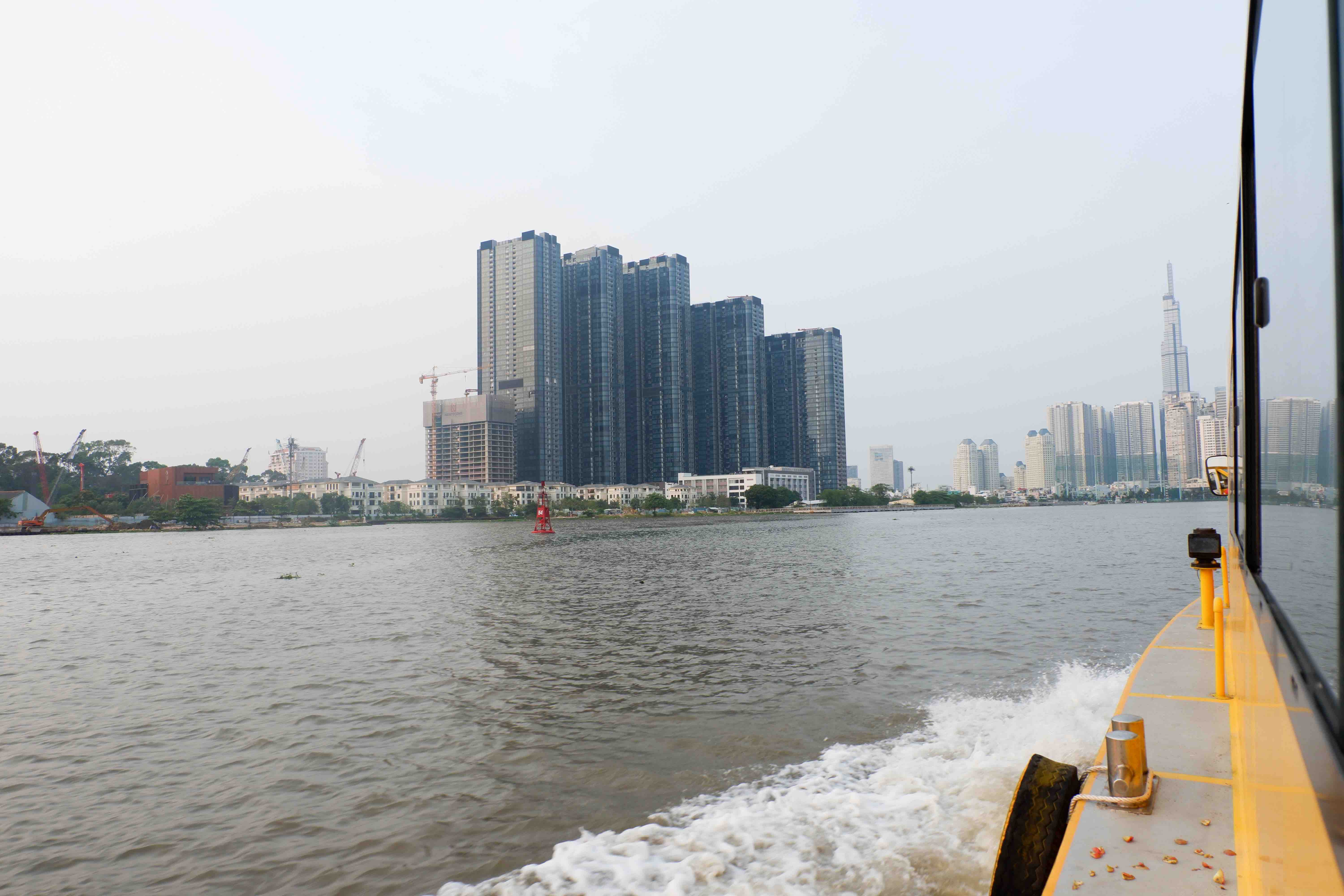 A lots of famous skyscrapers in Ho Chi Minh City can be seen from waterbus windows. Photo: Linh To / Tuoi Tre