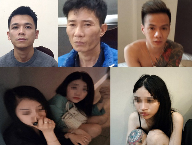 Suspects involved in the drug ring at National Mental Hospital 1 in Hanoi in this supplied photo.