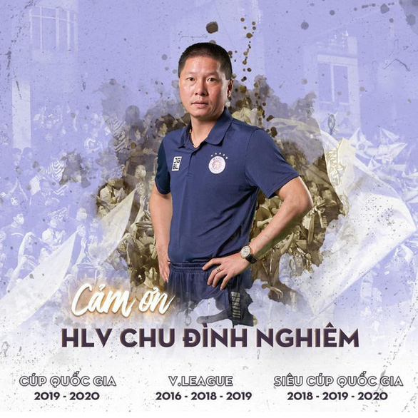 Hanoi FC honor Chu Dinh Nghiem in this banner following his departure from his role as the club's manager.