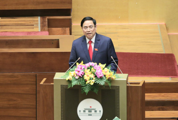 Prime Minister Pham Minh Chinh speaks before the National Assembly in Hanoi, April 5, 2021. Photo: Ngoc Hien / Tuoi Tre