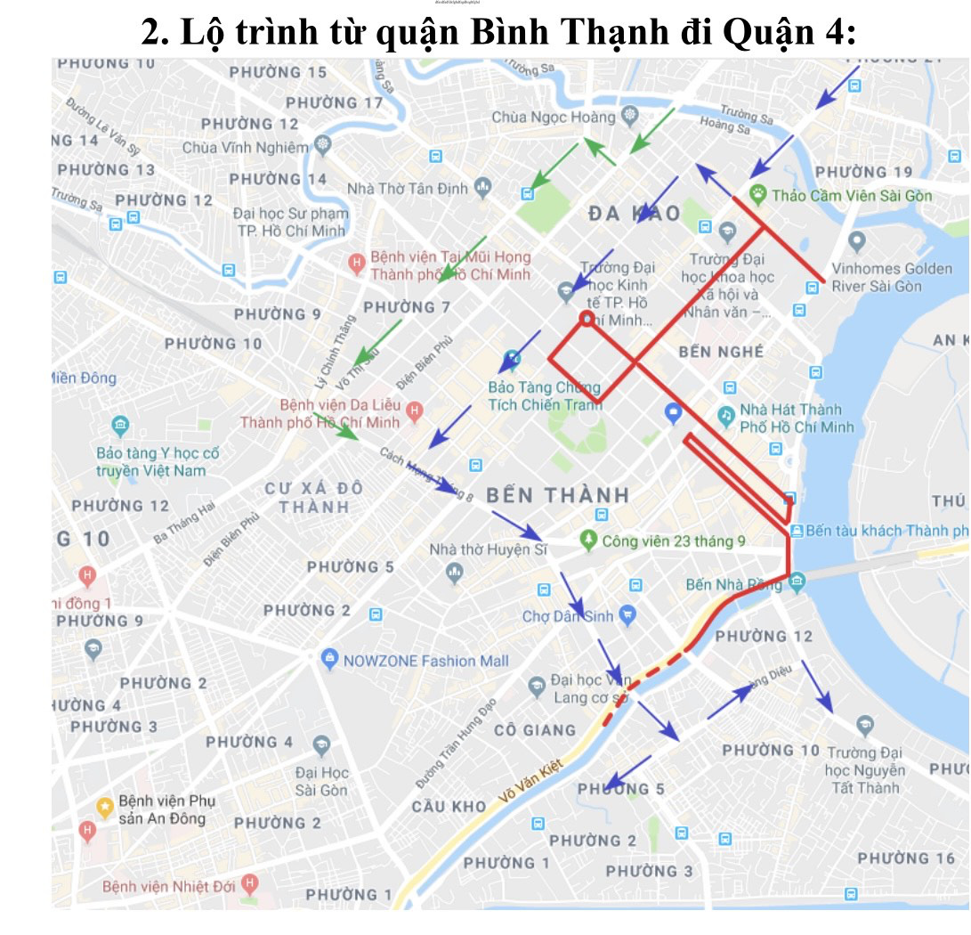 The streets where traffic will be banned and their alternative routes on April 11 in Ho Chi Minh City. Photo: Thu Dung / Tuoi Tre