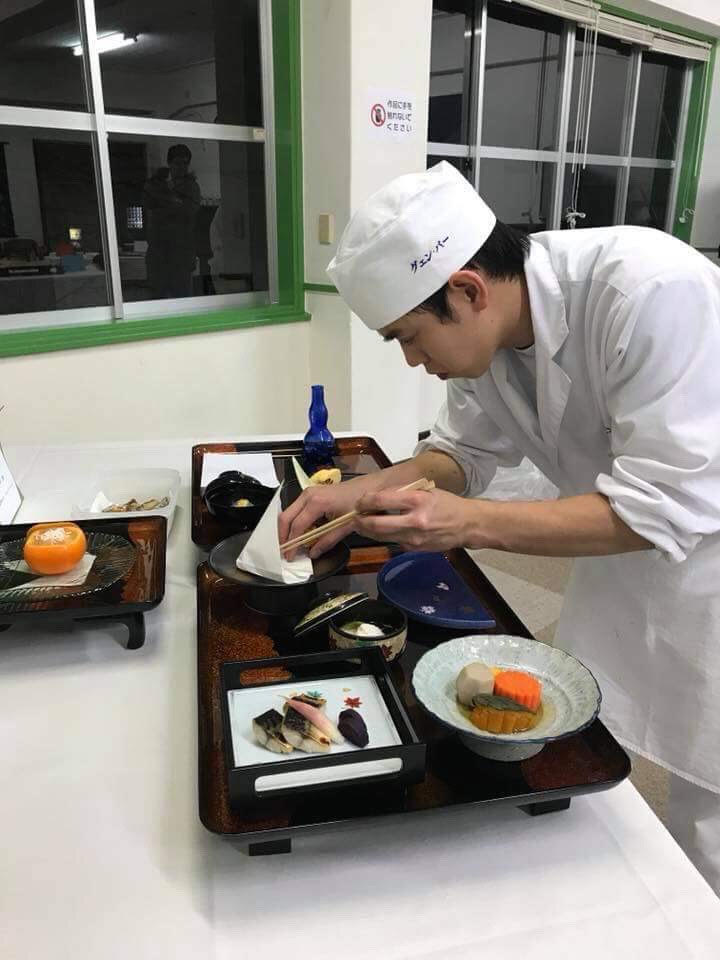 Phuoc prepares dishes at the cooking school in Hokuto Bunka Academy in 2017. Supplied file photo