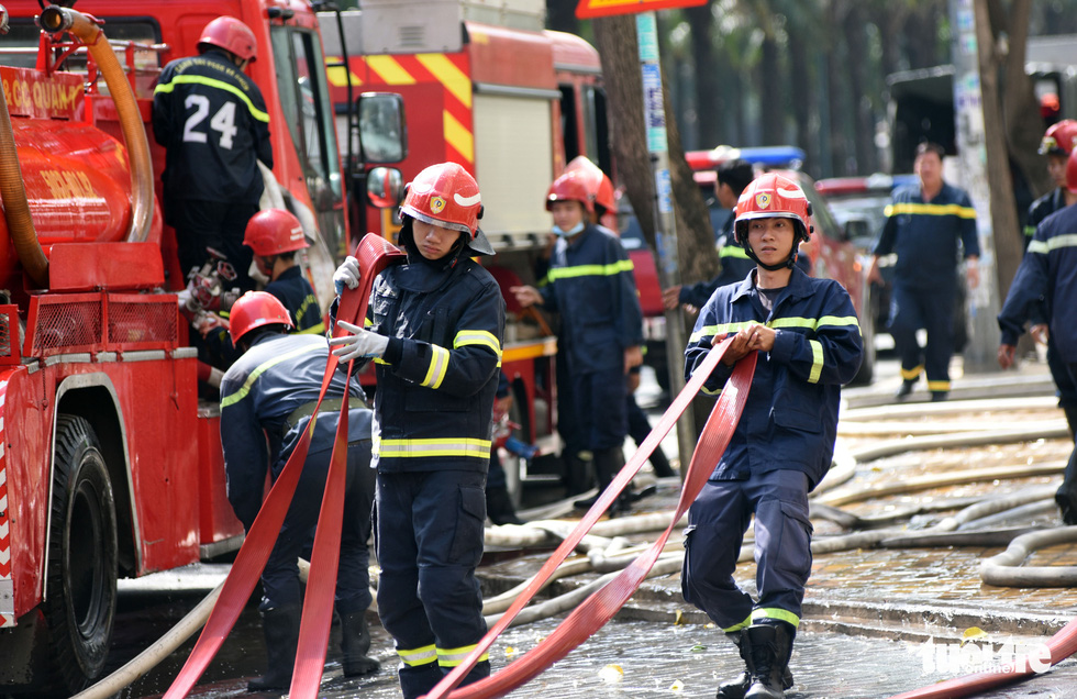 Firemen are deployed to put out a fire in a drill in Ho Chi Minh City.