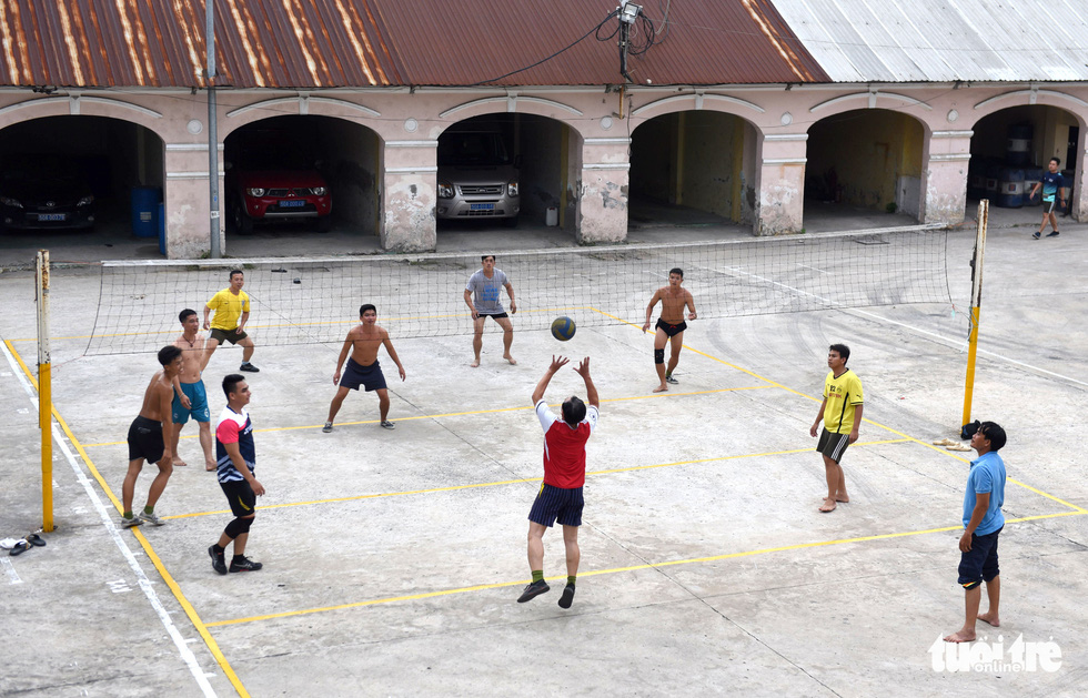 Firefighters and rescuers play volleyball to relax and enhance their physical fitness in Ho Chi Minh City.