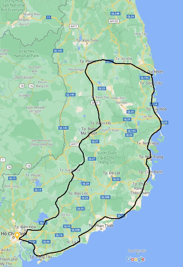 A map shows the journey Dinh's family conquered in five days. Photo: Supplied