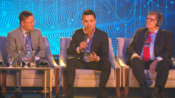 Republic CEO Kendrick Nguyen (middle) is seen at the 2019 Techfest in Vietnam. Photo: Courtesy of Kendrick Nguyen