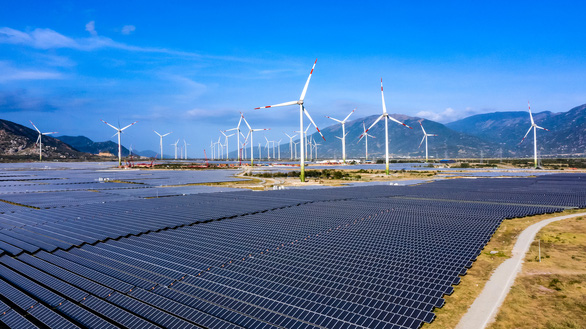The renewable energy complex including the two projects for wind power and solar power in Ninh Thuan Province, Vietnam. Photo: Nam Trung