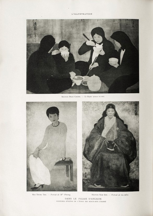 Three art works of painters Mai Trung Thu, Nguyen Nam Son, Nguyen Phan Chanh seen in the booklet of the 1932 International Colonial Exhibition. Photo:  SOTHEBY'S