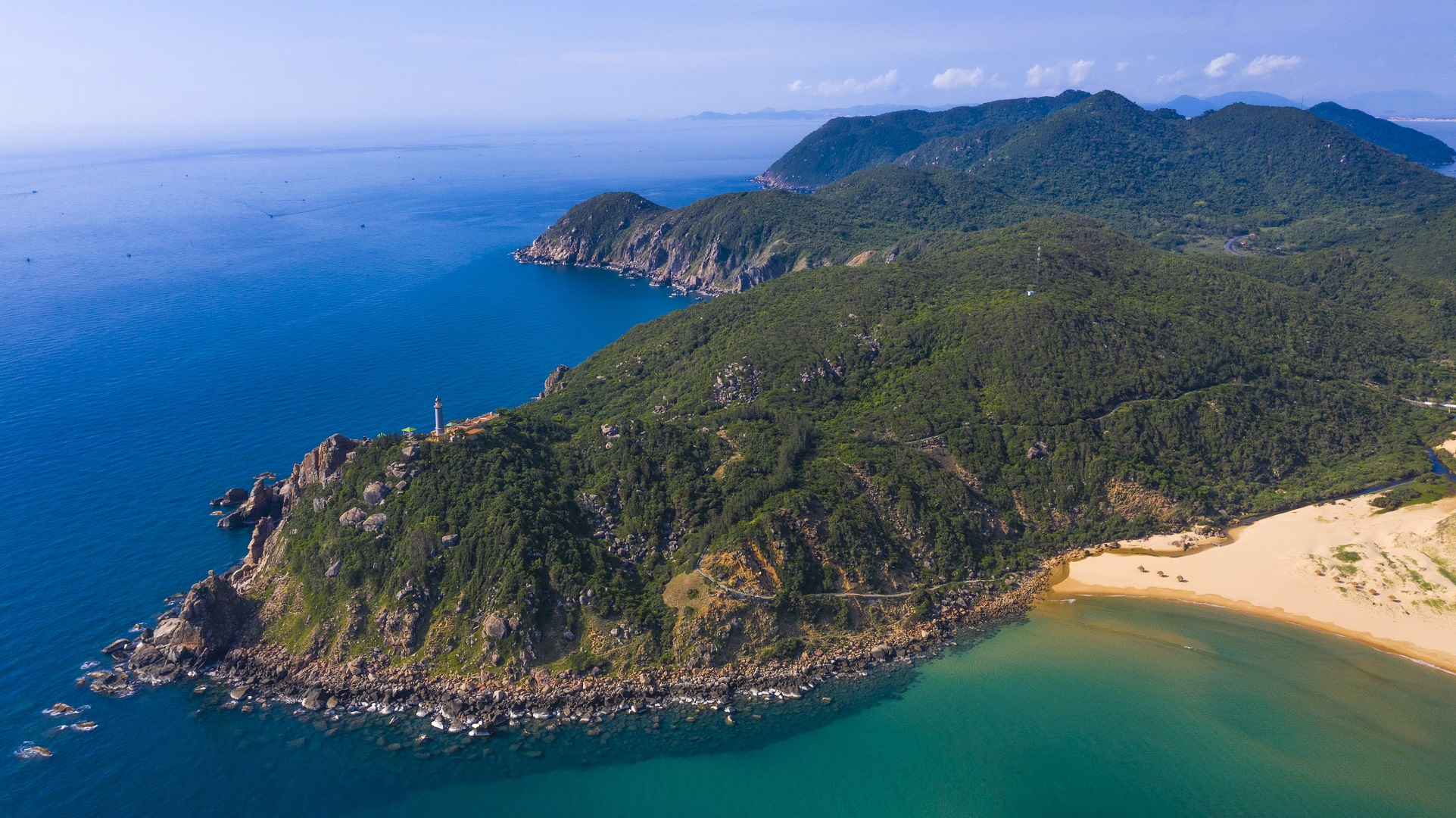 An aerial photo captures the central province of Phu Yen's Dai Lanh Cape where sees the first sunlight of the day in Vietnam. Photo: Quang Dinh / Tuoi Tre News