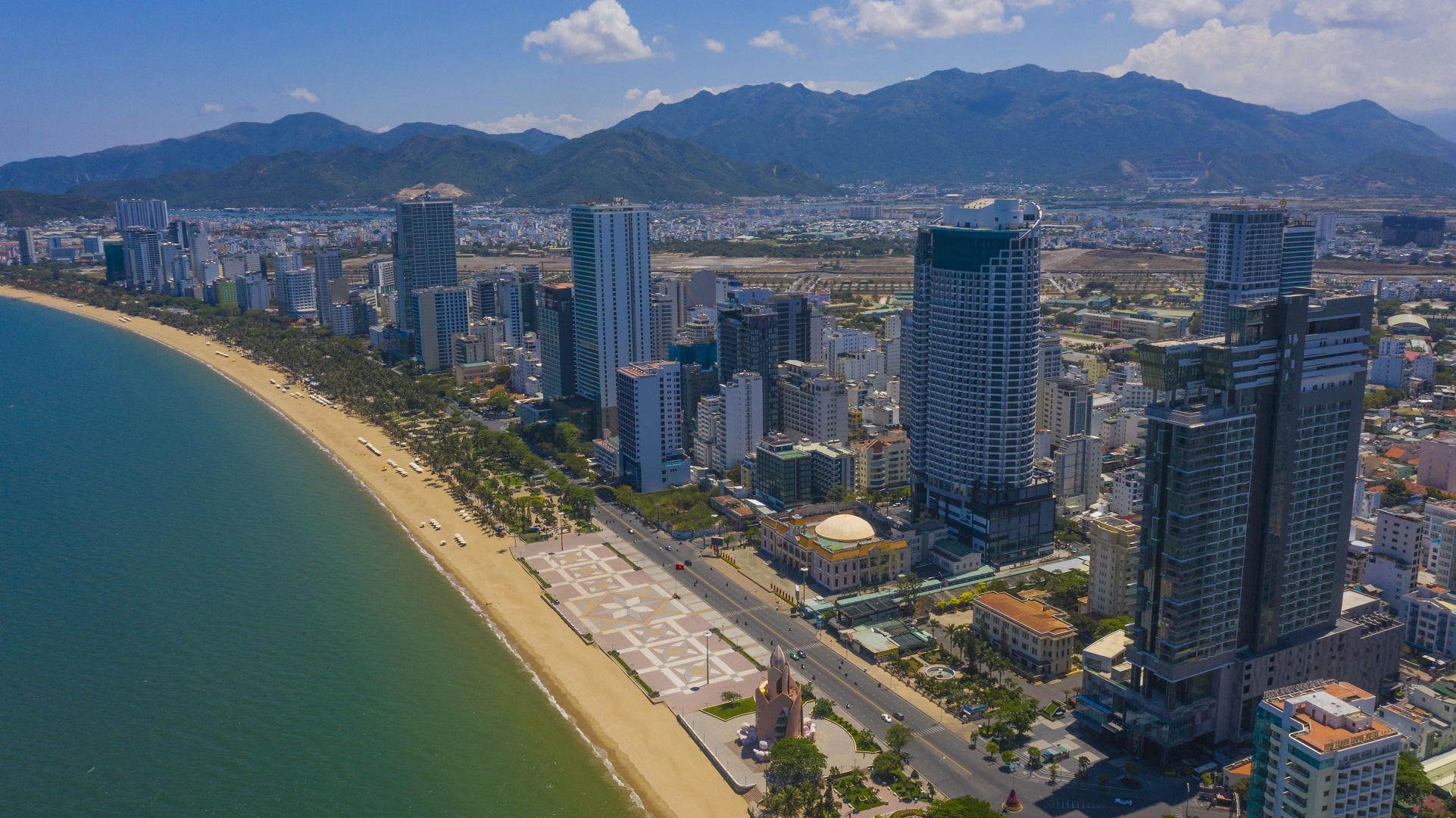 An aerial photo shows buildings along the beach in the tourism city of Nha Trang. Photo: Quang Dinh / Tuoi Tre News