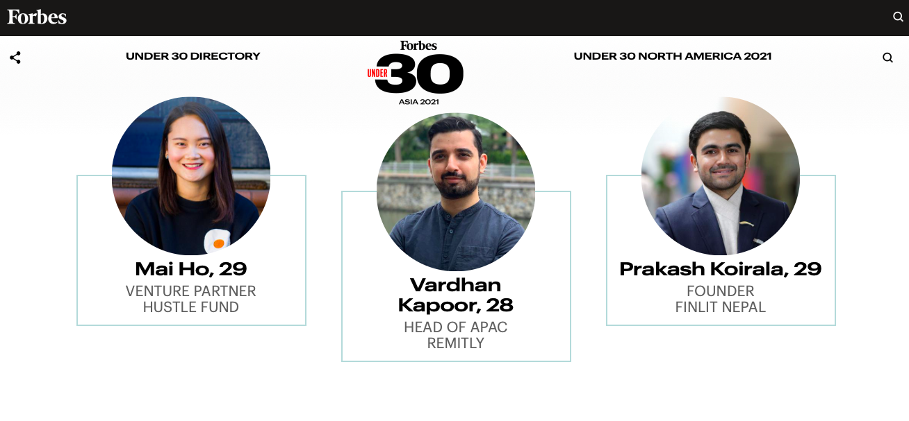 This screenshot shows Vietnamese venture partner Mai Ho honored in the 2021 Forbes 30 Under 30 Asia list.
