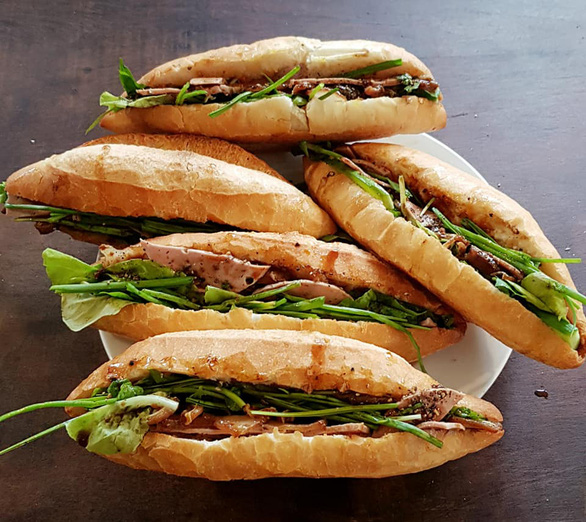 A supplied photo of a plate of Hoi An-style char siu banh mi prepared by singer Anh Tuyet at her house in Hoi An City, Quang Nam Province, Vietnam.