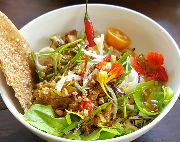 A supplied photo of a bowl of mi quang prepared by singer Anh Tuyet at her house in Hoi An City, Quang Nam Province, Vietnam.