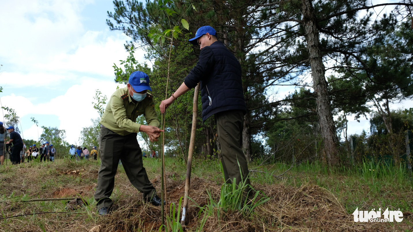 Forest protection officials plant a tree at the launching ceremony of a mass planting project, Vietnam, April 23, 2021. Photo: Duc Tho / Tuoi Tre