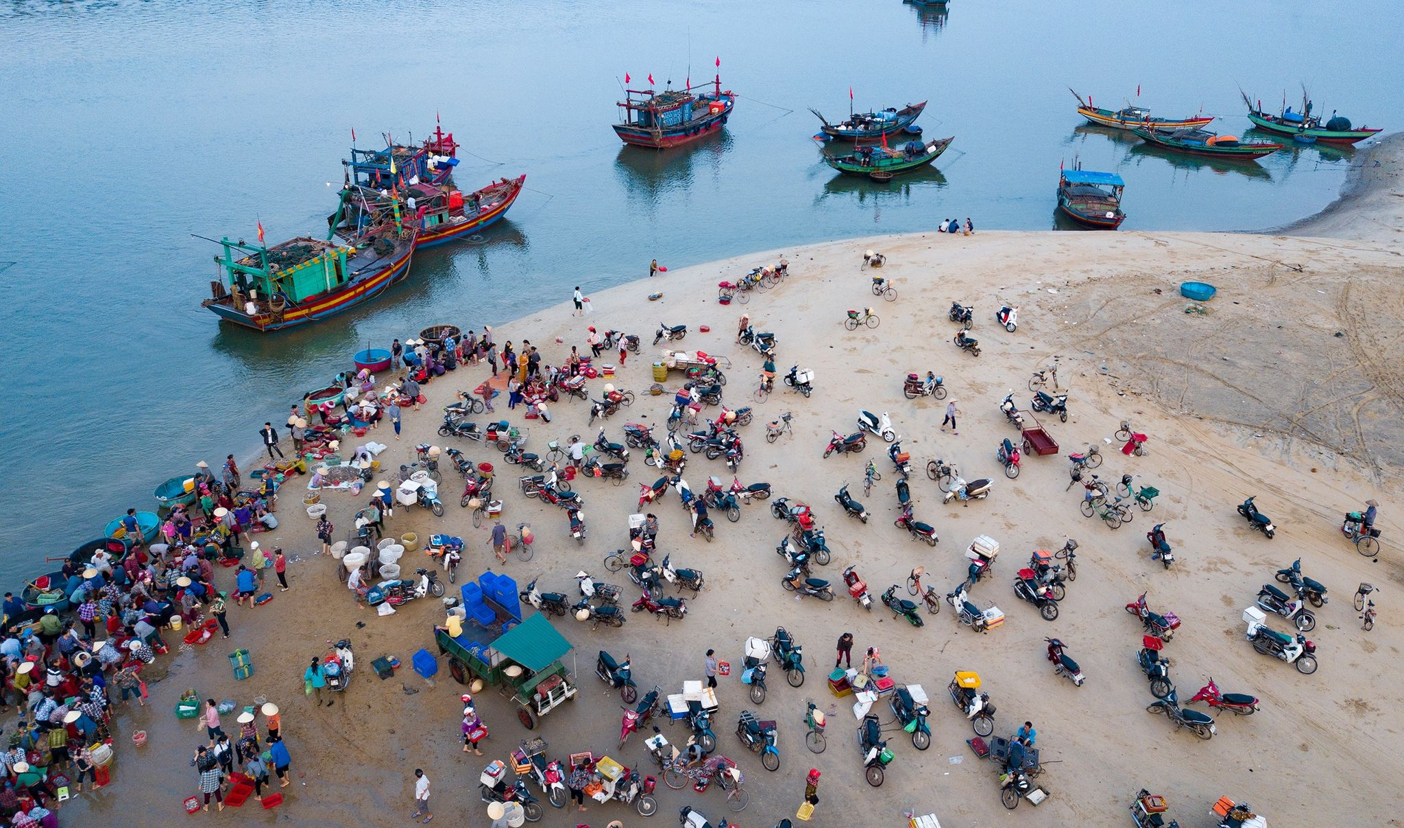 People purchase fishes at Thien Cam Beach in Ha Tinh Province . Photo: Nam Tran / Tuoi Tre