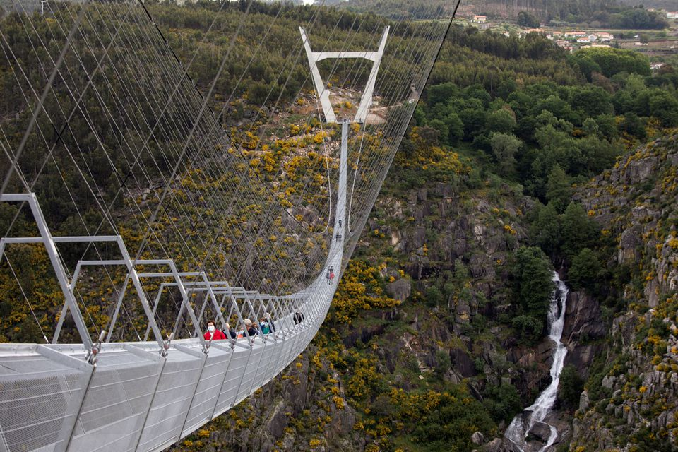 High anxiety: World's longest pedestrian suspension bridge opens in Portugal