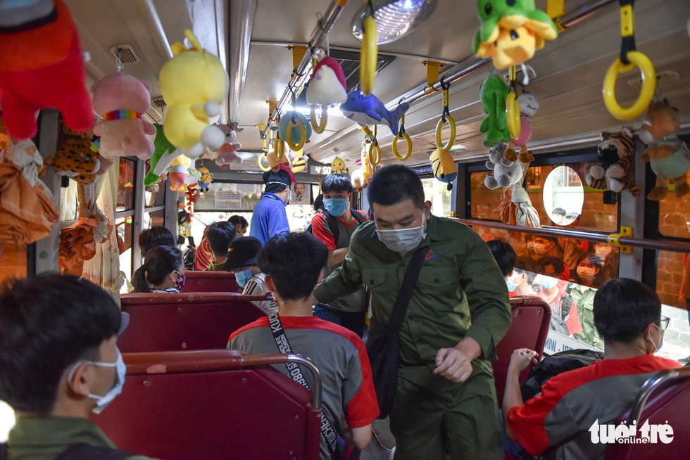 Saigon bus attendant adorns public vehicle with plush toy collection