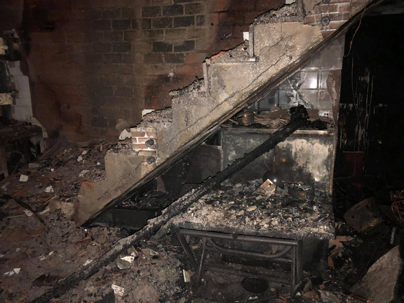 A scene inside the house consumed by the fire. Photo: Chau Tuan / Tuoi Tre