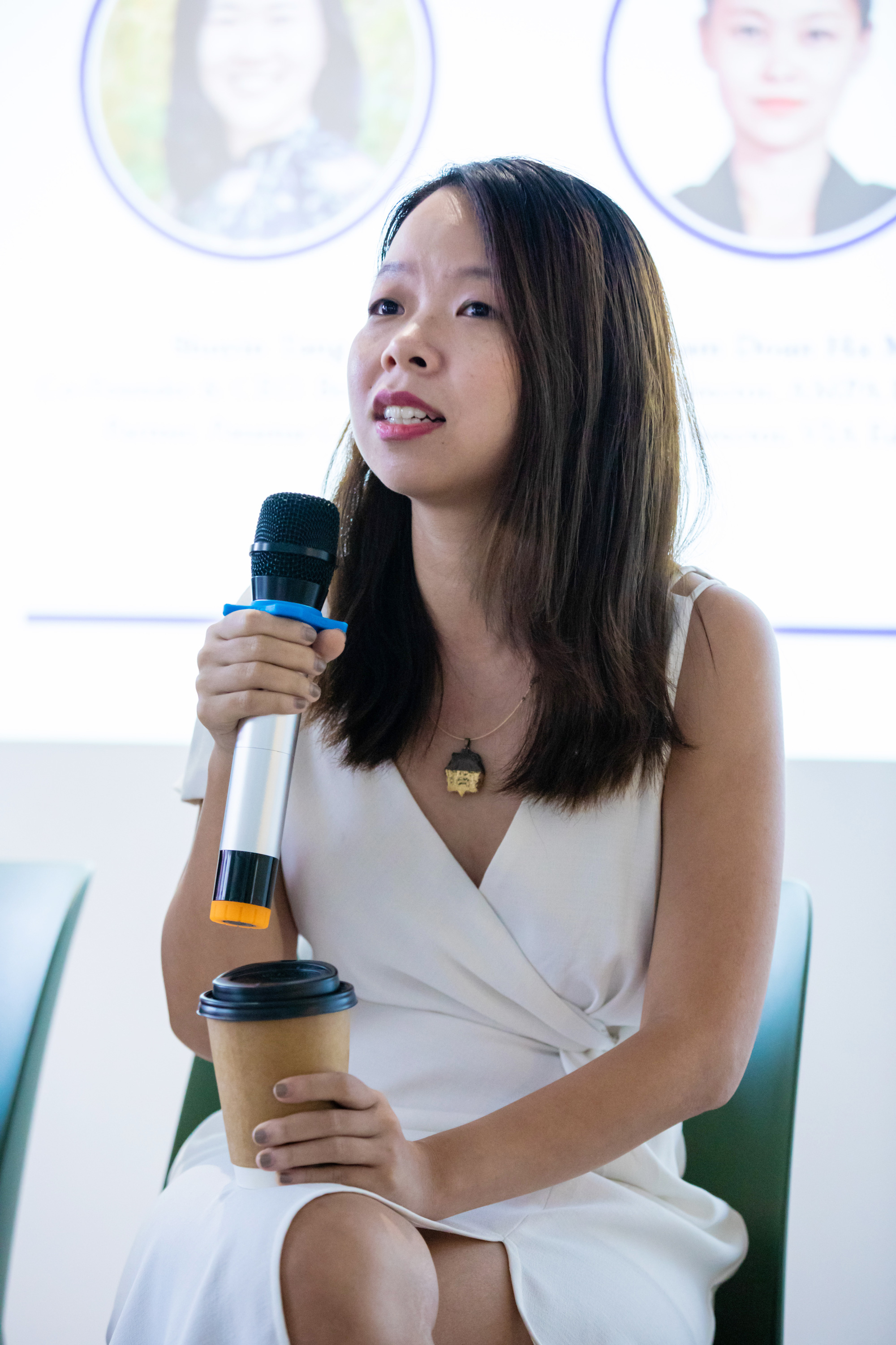 Ngo Thuy Ngoc Tu speaks to students at an international university in Ho Chi Minh City in this provided photo.