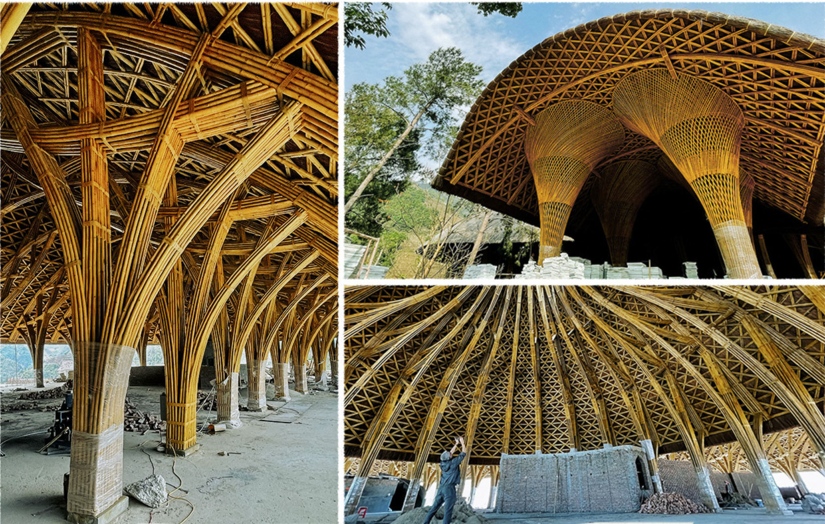 The central dome in Mu Cang Chai Ecolodge Complex in Mu Cang Chai District is made from bamboo. Photo: Viet Dung / Tuoi Tre