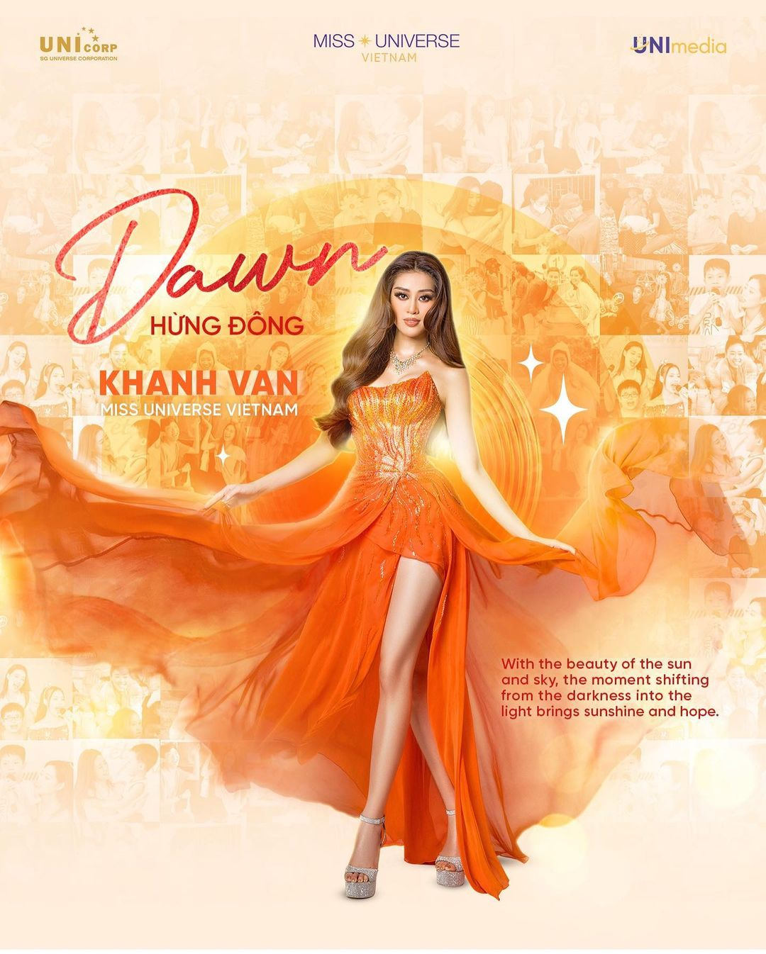 An artwork explains the inspiration of a dress titled 'Dawn' which Nguyen Tran Khanh Van wears at the evening gown round at Miss Universe 2020. Photo: Instagram @khanhvannguyen25