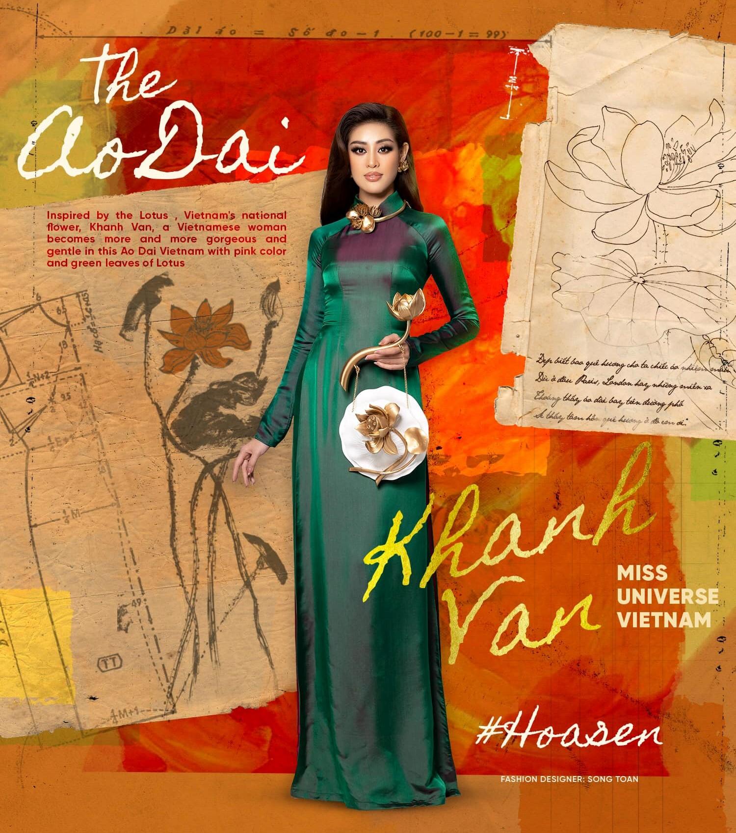 An artwork explains the inspiration of an ao dai Nguyen Tran Khanh Van wears at Miss Universe 2020. Photo: Instagram @khanhvannguyen25