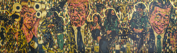 Hanoi artist incorporates snapshots of pandemic life into lacquer painting