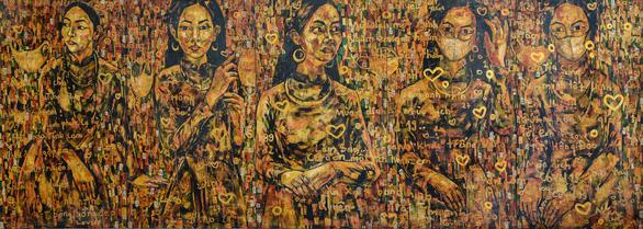 'Khau trang va thieu nu' (Young woman with face masks,) lacquer painting by Tran Lam Binh.