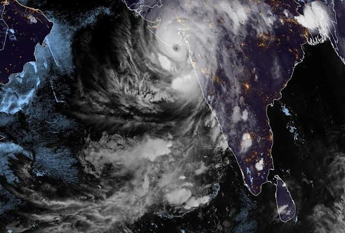This handout satellite image shows Cyclone Tauktae over western India on May 17, 2021. Photo: AFP