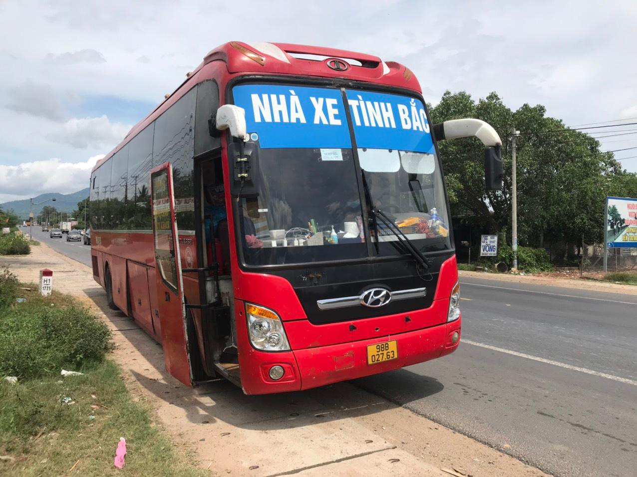 This supplied photo shows a passenger bus which was caught carrying five Chinese people without legal immigration documents hiding in carton boxes in Dong Nai Province, Vietnam.