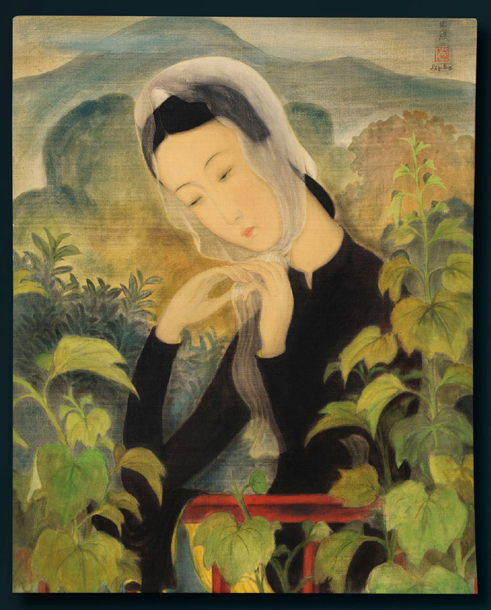 'Young Lady Tying Her Scarf' (1938) by Le Pho